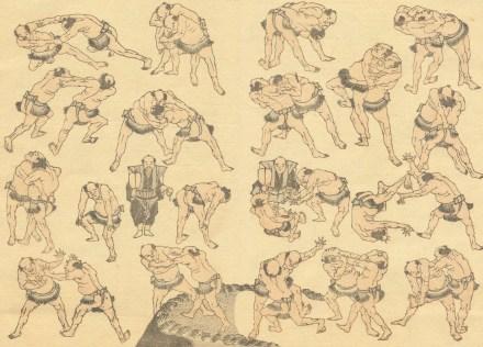 hokusai manga wrestling large